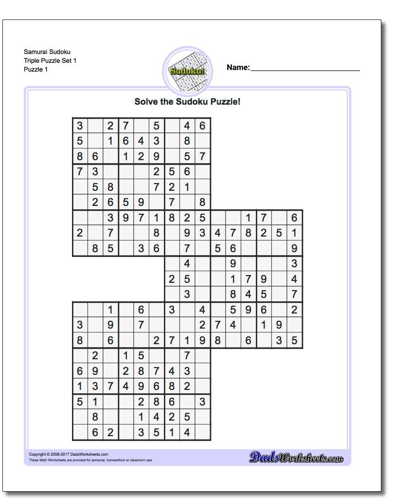 if your are looking for extreme sudoku challenges then these printable samurai sudoku puzzles will test your swordsmanship printable sudoku worksheets [ 810 x 1025 Pixel ]