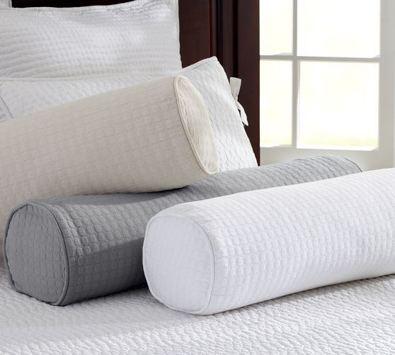 Cameron Organic Matelasse Bolster Pillow Cover Pottery Barn Daybed Covers Pillows Bolster Pillow