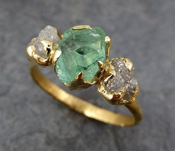 Three Raw Stone Diamond Emerald Engagement Ring 18k Gold Wedding Uncut Birthstone Stacking Rough
