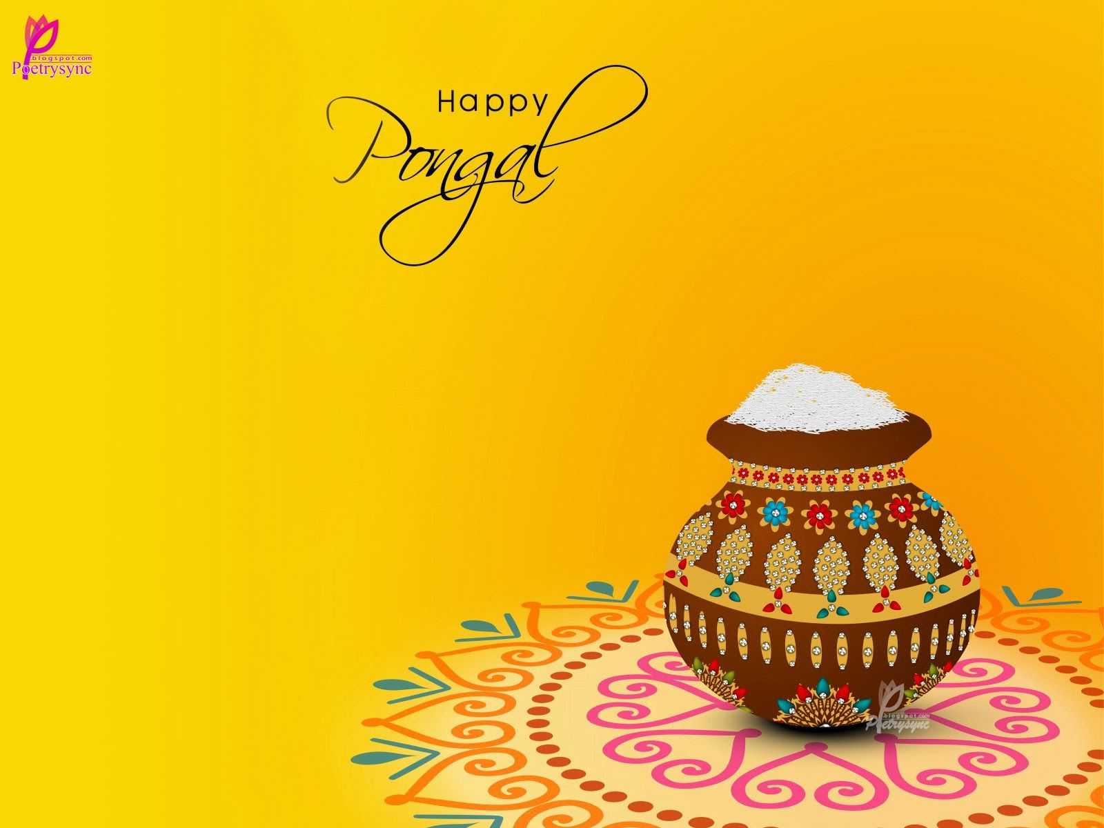 Beautiful Pongal Festival Wishes Card Wallpaper Pongal Wishes