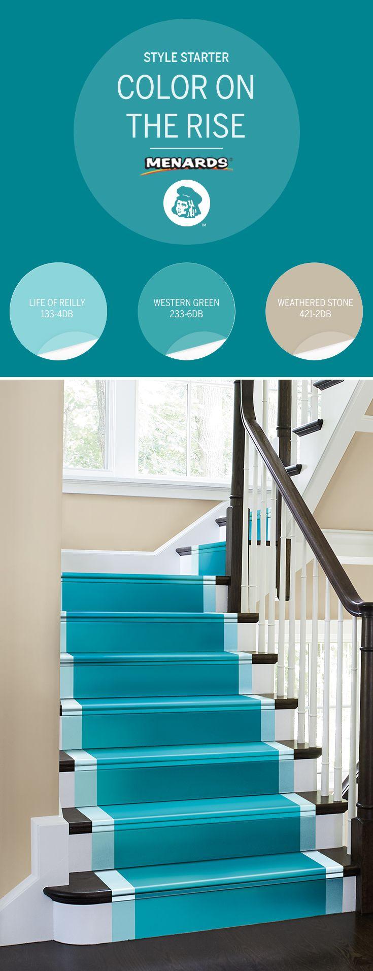 Dutch Boy Porch And Floor Paint : dutch, porch, floor, paint, Simple, Staircase, Flair, Double, Stripe, Bright, Color., Look,, Chose, Bathroom, Paint, Colors,, Menards, Living, Colors