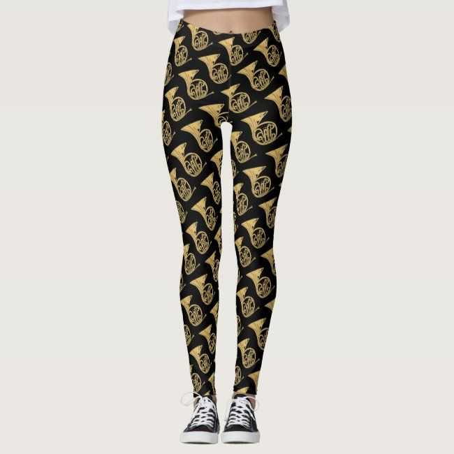 French Horn Musical Instrument Drawing on Black Leggings #horn #instrument #music #brass #musical #L...