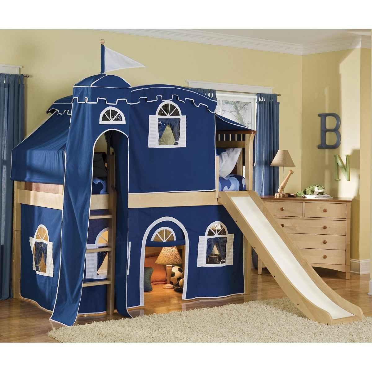 Bunk bed with slide for boys - Bunk Bed Tents For Boys Blue Tent Castle Bed For Children
