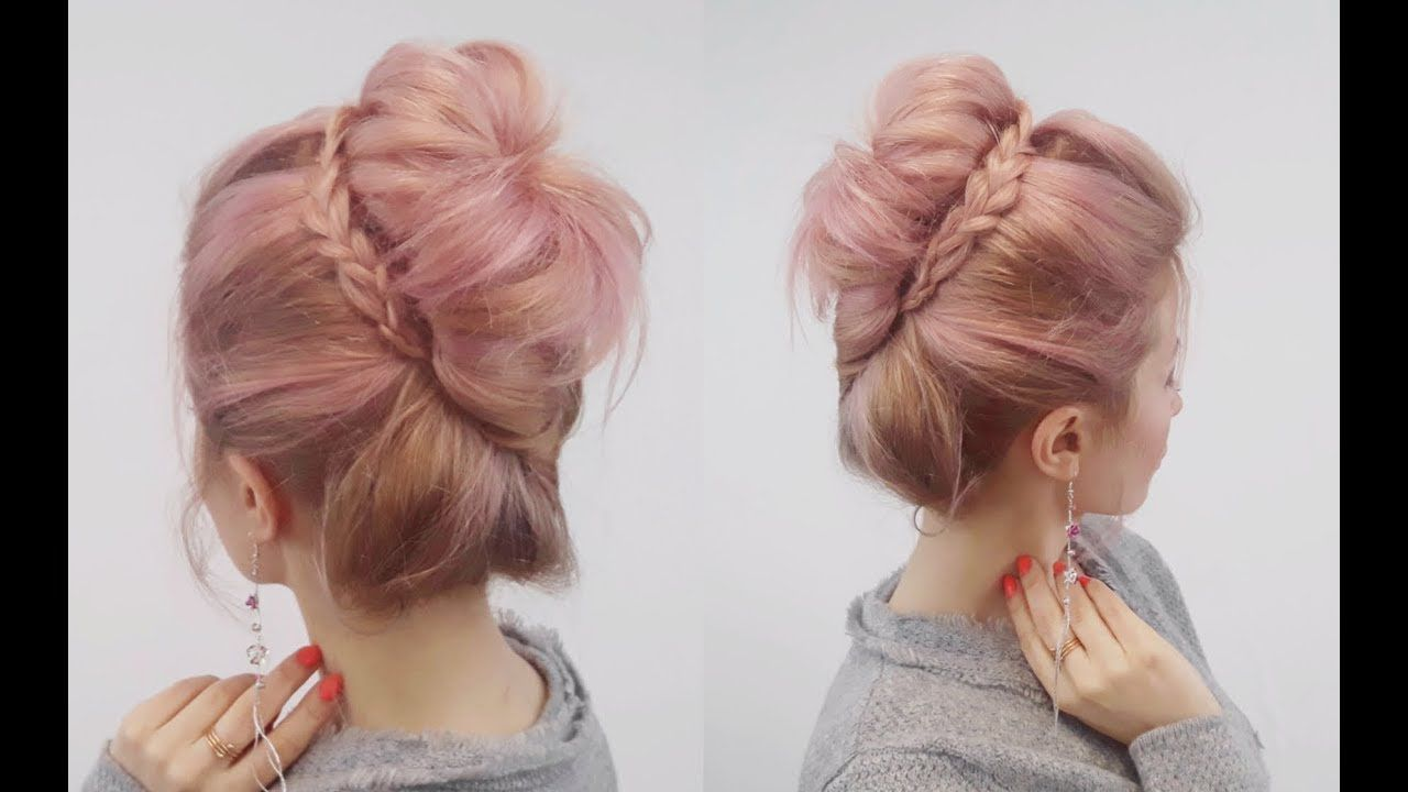 Super easy hairstyle easy french twist bun with a braid awesome