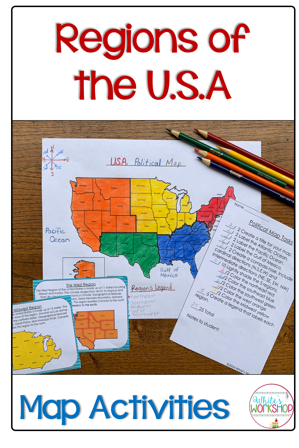 Regions Of The Us Map For Kids Regions of the United States Map Activities | Map activities
