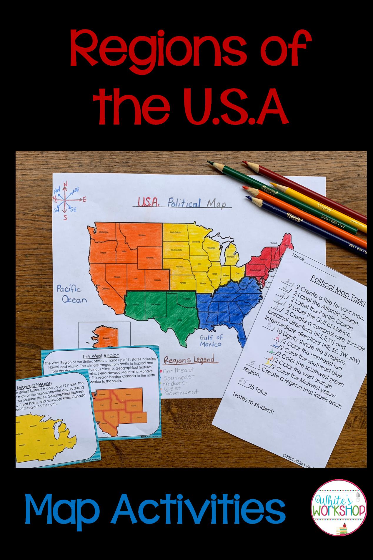 medium resolution of Regions of the United States   Map activities