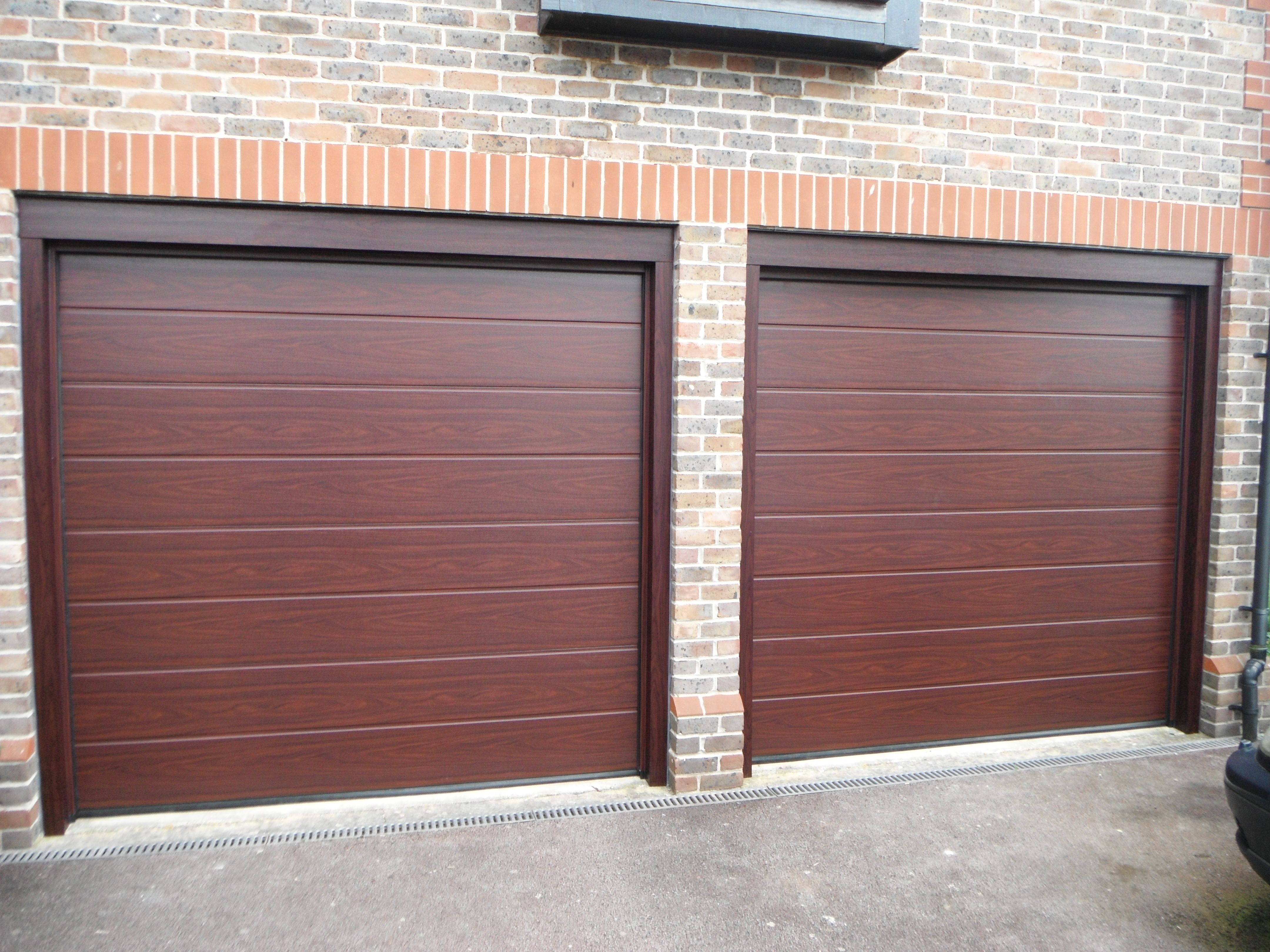 Hormann MRibbed Decograin Rosewood Sectional Garage Doors