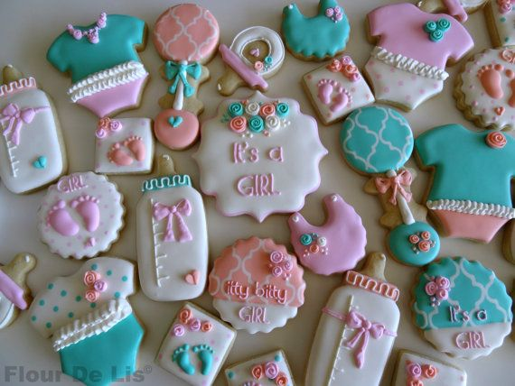 it's a girl baby shower cookies, by flour de lis  flour de lis, Baby shower invitation