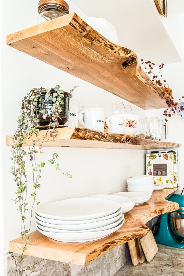 Kitchen Floating Live-Edge Shelves