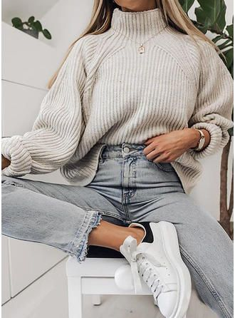 VERYVOGA Solid Ribbed Chunky knit Turtleneck Sweaters