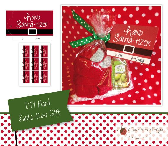 Instant Download Printable Diy Sanitizer Gift Hand Santa