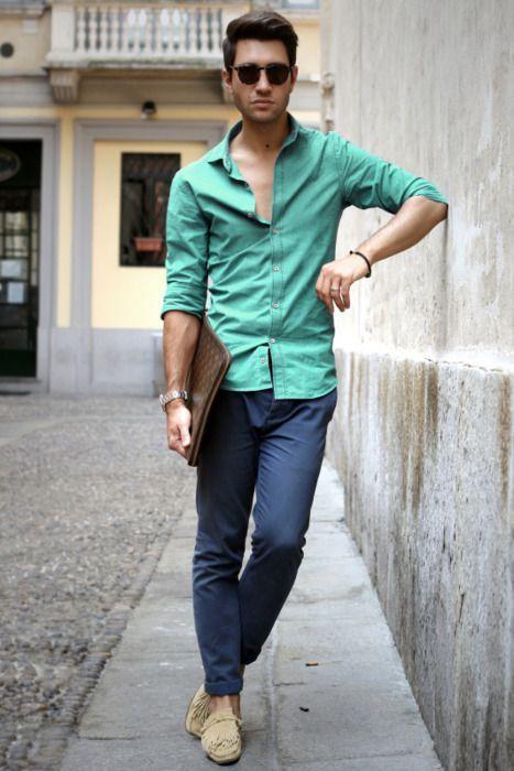 Look de moda  Camisa de manga larga en verde menta 5223426e92e