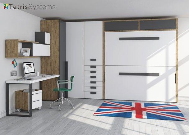 Dormitorio con litera abatible y armario rinc n literas abatibles murphy beds wallbeds - Literas con armario ...
