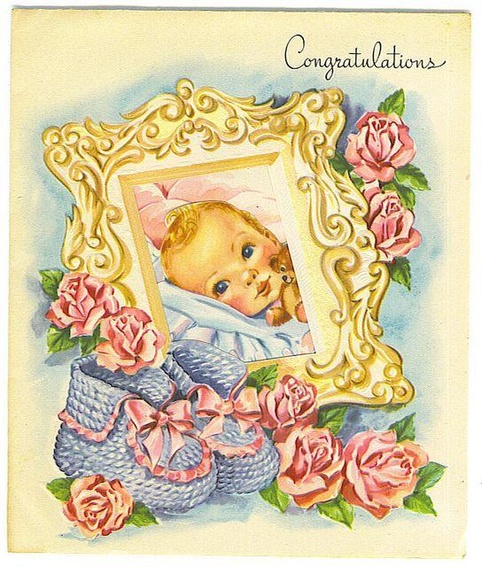 Congratulations Baby Card By Tommer G Via Flickr Dibujo De Bebe Dibujos Imagenes Retro
