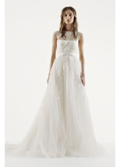 Elegant White by Vera Wang Illusion Neckline Wedding Dress VW