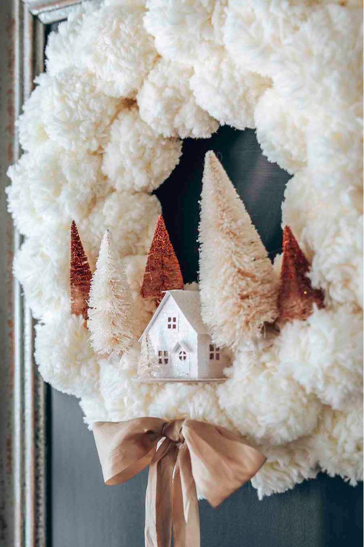 Photo of Winter Pom Pom Wreath DIY, #DIY #Pom #Winter #Wreath
