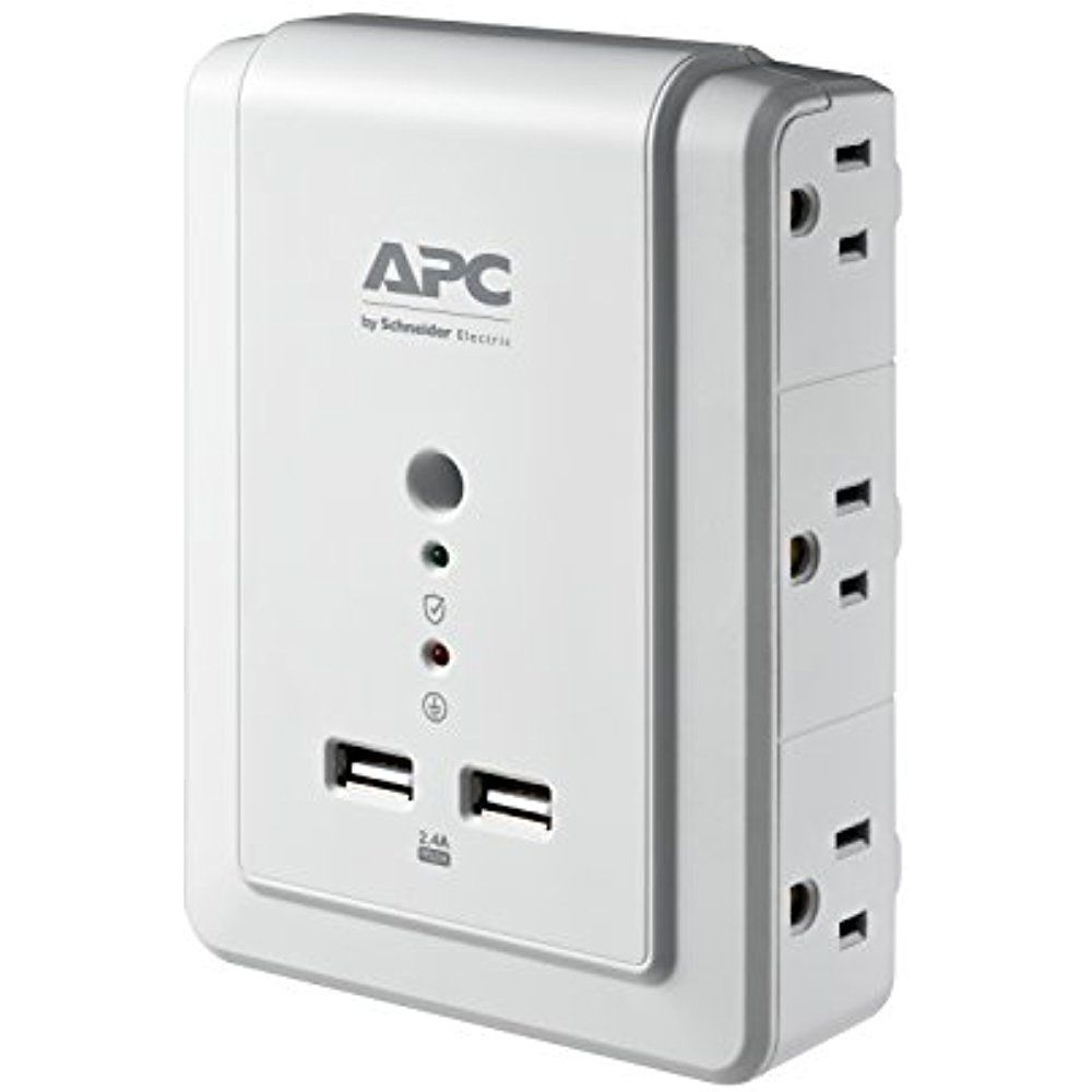 Apc Surge Protector 6 Outlet With 2 4a Usb Charging Port Wall Mount Surgearrest Apc