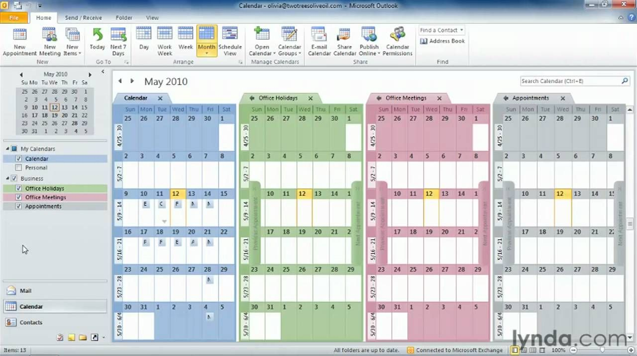 Outlook tutorial How to work with multiple calendars