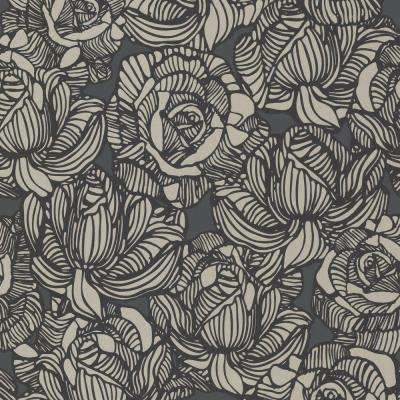 56 sq. ft. Calista Black Modern Rose Wallpaper