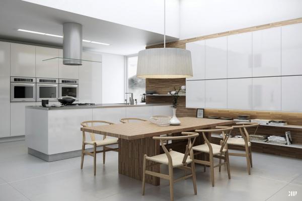 Mesa Cocina Blanca | Cocina Blanca Con Mesa Laminada De Madera Cocina Abierta Pinterest