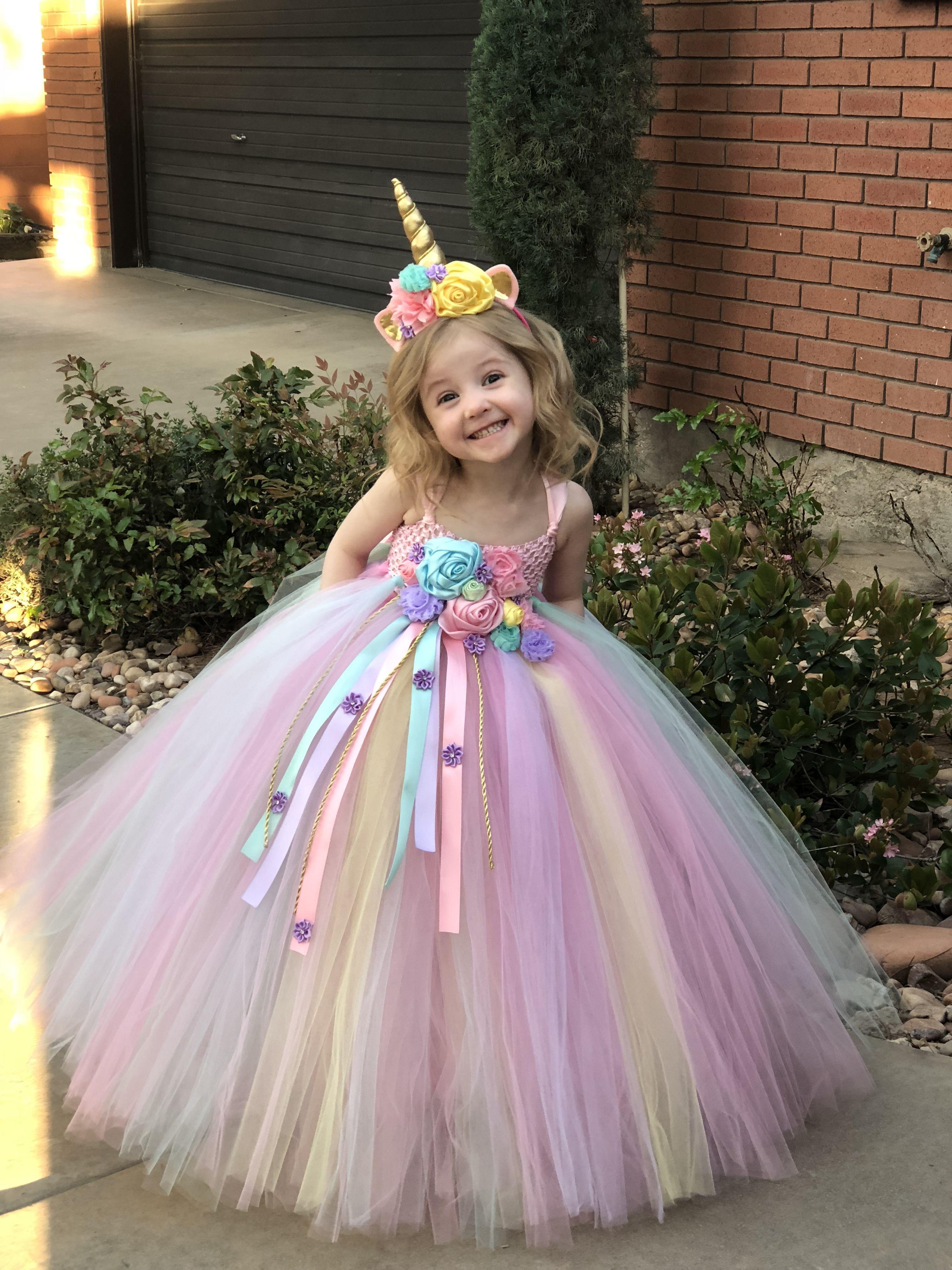 Children Kids Girl Unicorn Long Sleeve Fancy Costume Party Birthday Dress L15