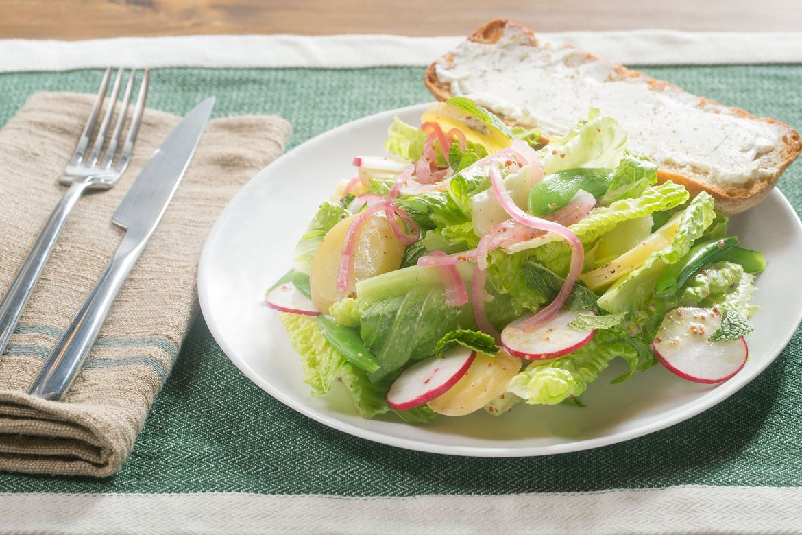 Romaine, Potato & Snap Pea Salad with Buttermilk Dressing & Goat Cheese Toasts