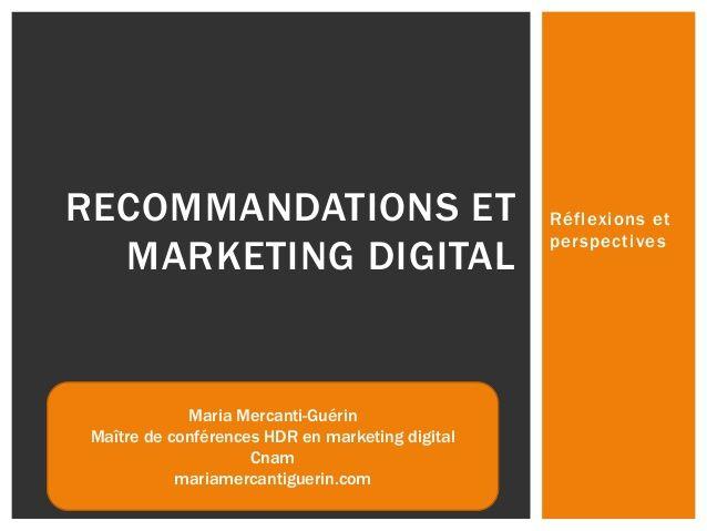 Recommandations et marketing digital