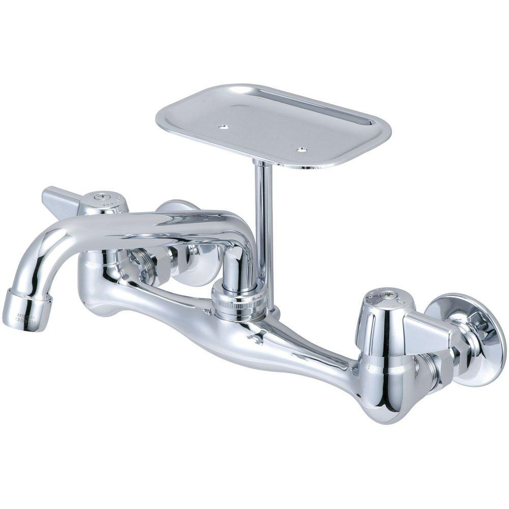 Central Brass Wall Mount 2 Handle Standard Kitchen Faucet In
