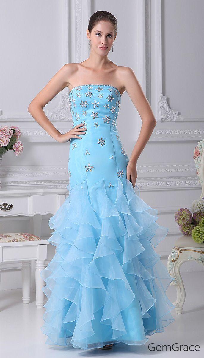 Cute Beaded Blue Sheath Prom Dress with Ruffles #OP4161 $206.9 ...