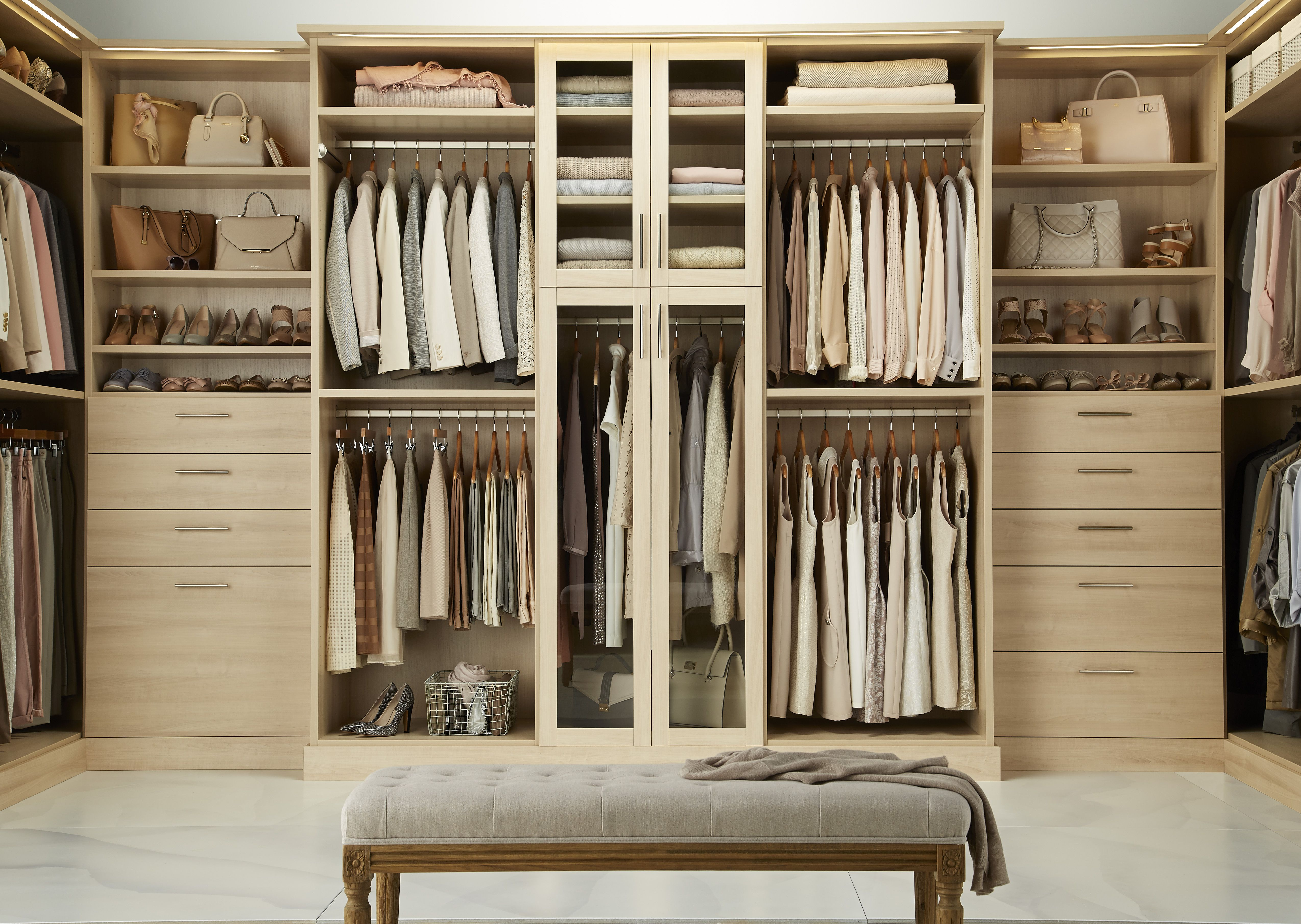design customize and have your dream closet installed with tcs closets by the container store tcs closets are luxury custom walk in closets staged and