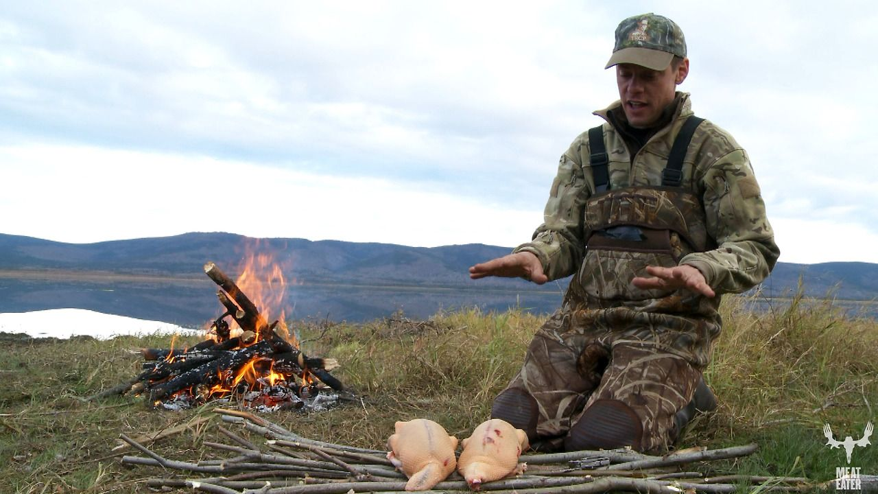 Steven Rinella cooking up some ducks after a hunt in