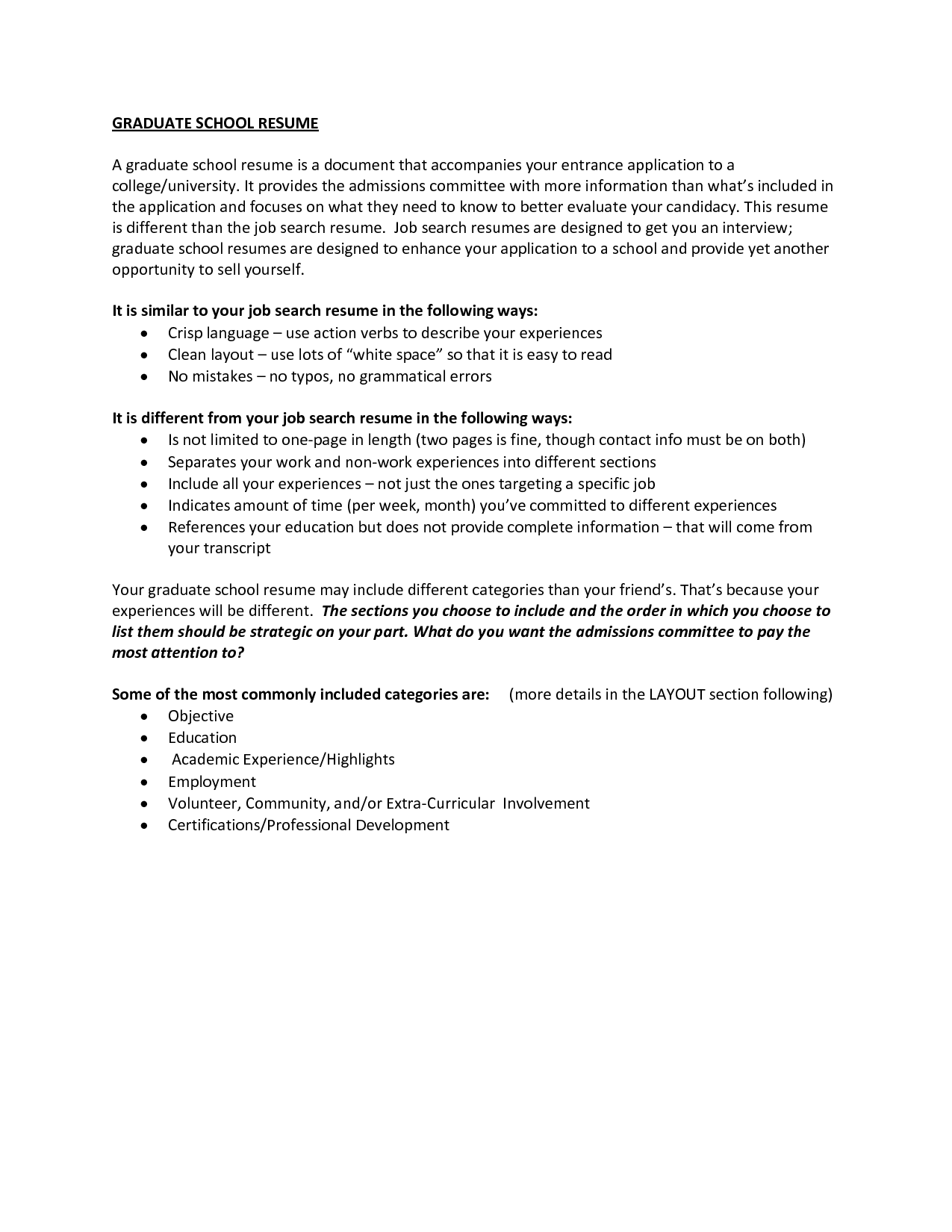 Graduate School Resume Example  HttpWwwResumecareerInfo