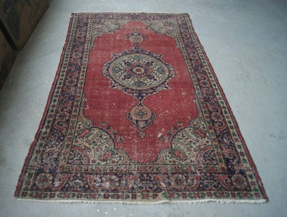 4 2 X7 1 Turkish Vintage Rug Low Pile Rug Distressed By Rugtogo Vintage Rugs Vintage Turkish Rugs Pile Rug