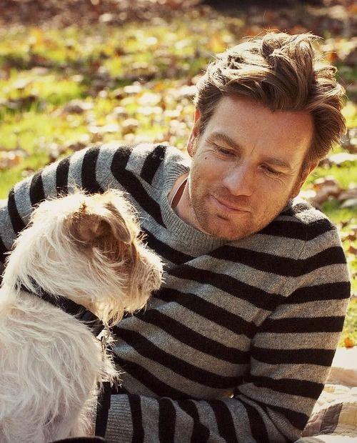 Ewan Mcgregor In A Striped Sweater With A Puppy Ewan Mcgregor