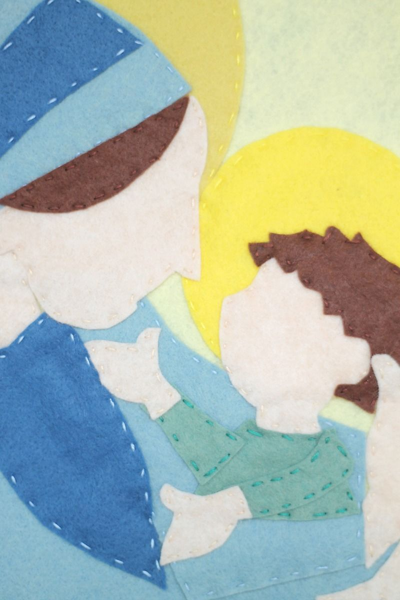 Mary and Jesus Felt Wall Art with Free Template | middle school ...