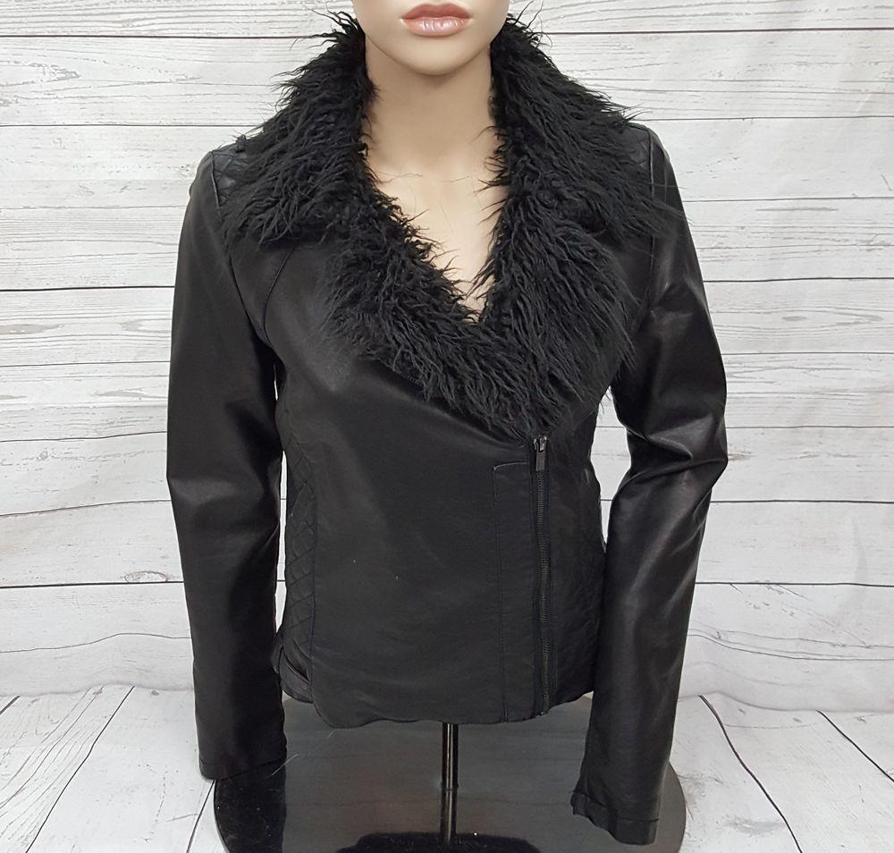 Black Rivet Faux Fur Trim Vegan Leather Asym Zipper Moto
