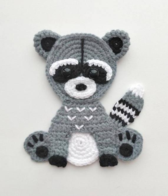 Pattern Raccoon Applique Crochet Pattern Pdf Woodland