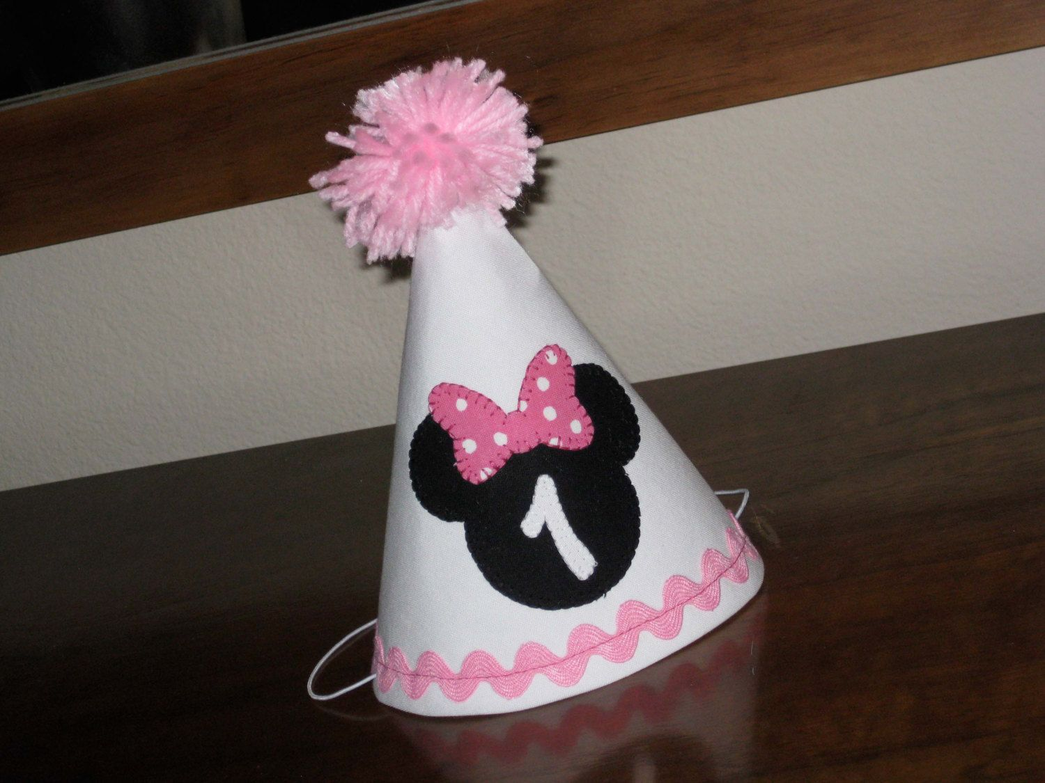 Birthday Hat Minnie Mouse Pink White Black First Party Maybe Make One