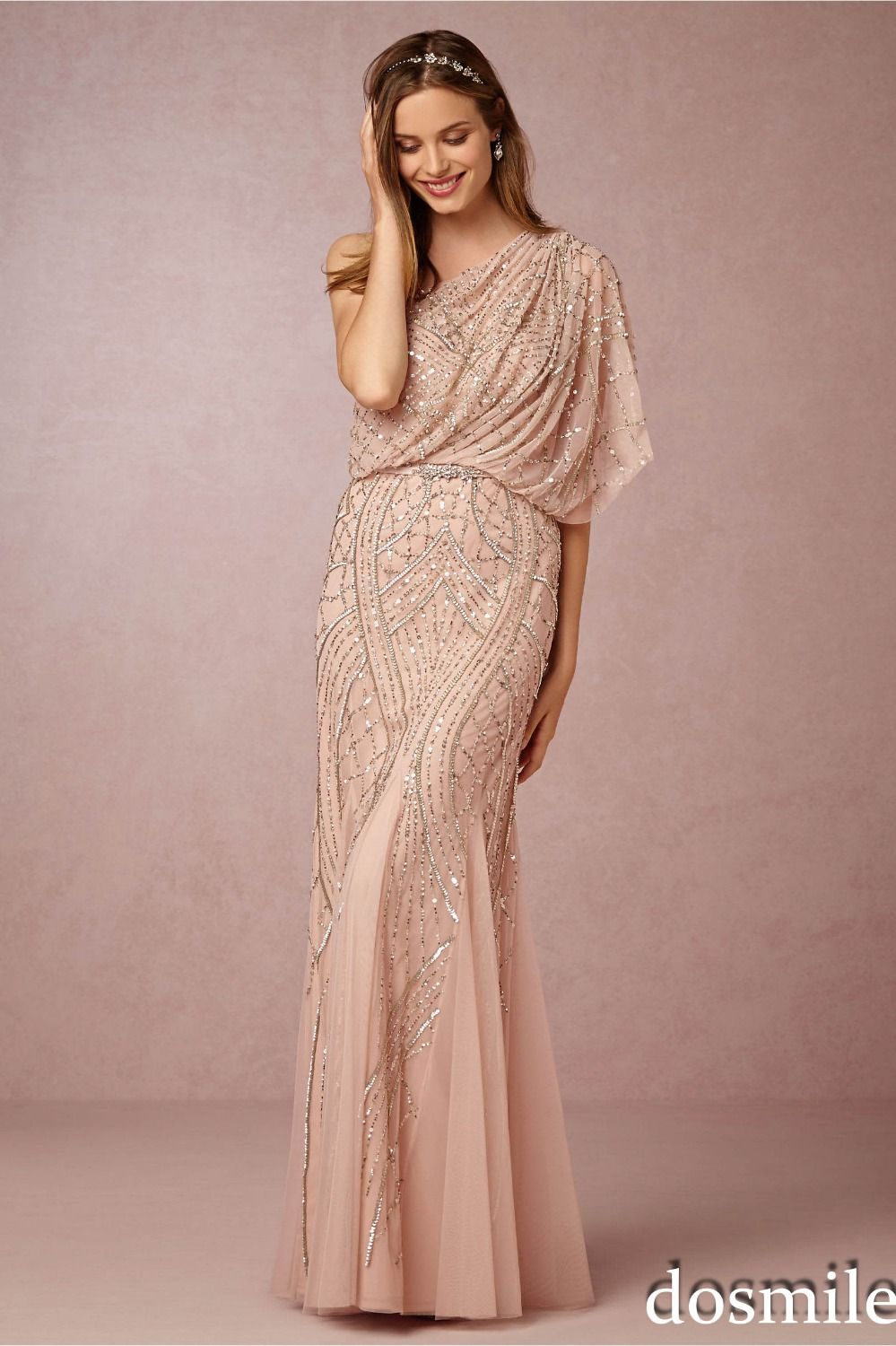 2016 gorgeous champagne gold sequin bridesmaid dresses one for Plus size wedding party dresses