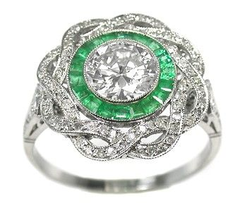 Art Deco 0.95ct Old Mine Diamond Emerald Platinum Engagement Ring