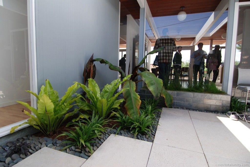 Small Indoor Garden Ideas Part - 23: Garden: Small Indoor Gardening Ideas Overlooking Paving Floor Corridor Wall  And Pendant Lamp: Indoor
