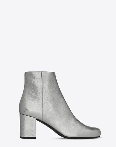 0d6d2be13e28 SAINT LAURENT BABIES 70 ANKLE BOOT IN SILVER METALLIC LEATHER AND SILVER-TONED  METAL.  saintlaurent  shoes