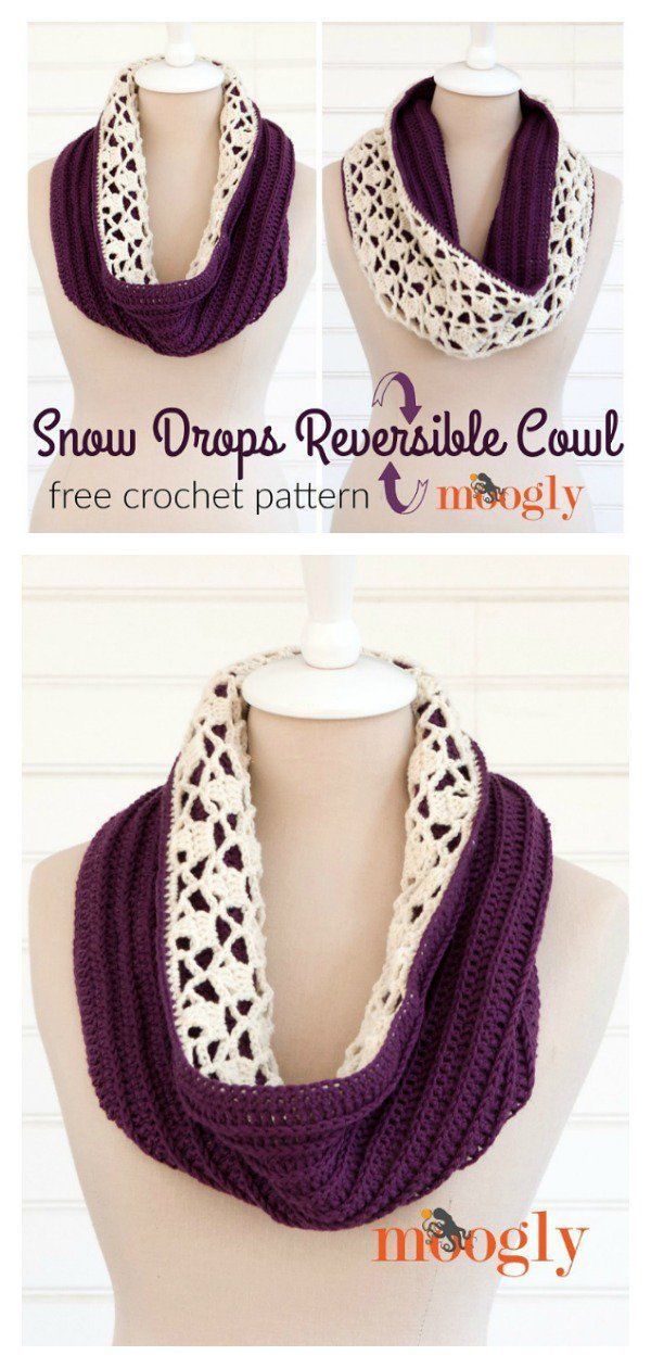 Double Sided Reversible Cowl Free Crochet Pattern