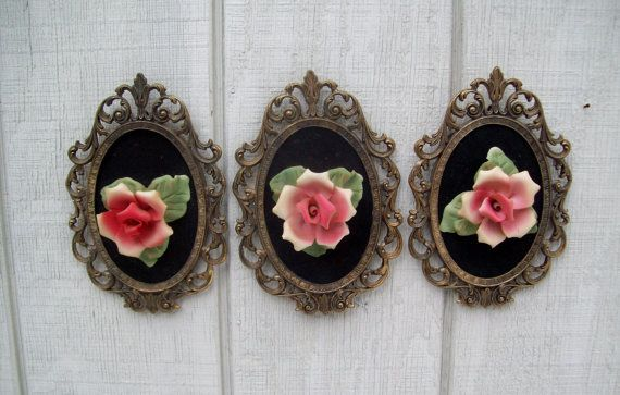 Do It Yourself Home Design: Vintage Capodimonte Porcelain Roses Black Velvet Ornate