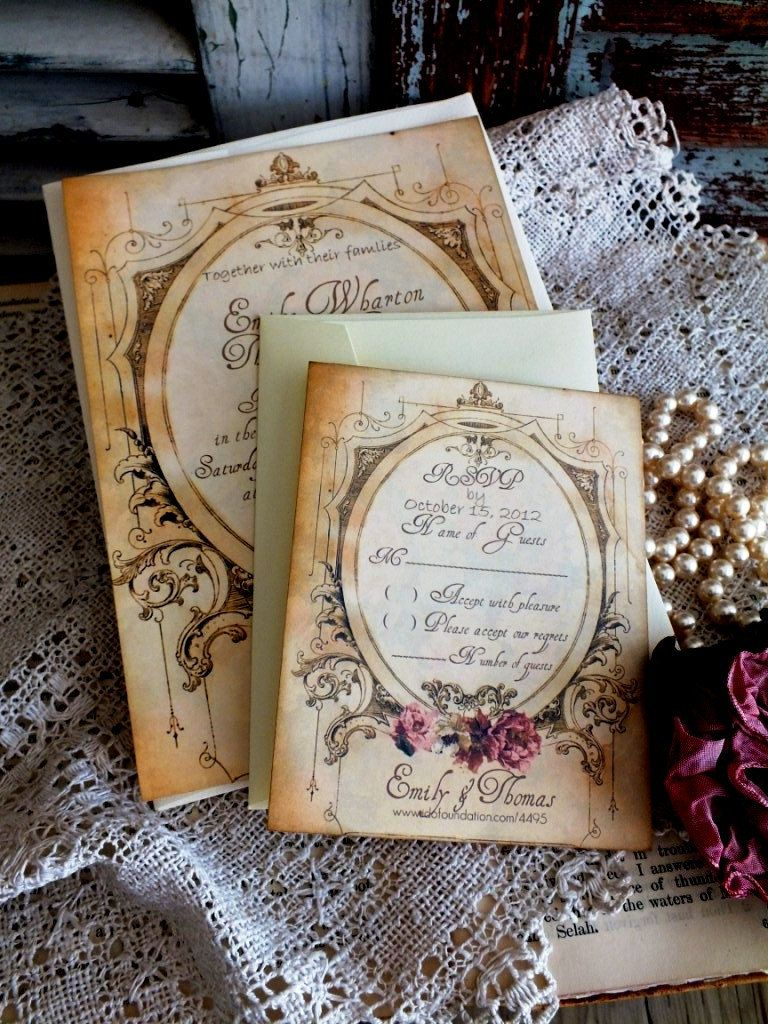 Romantic Vintage Wedding Invitation Suite Wedding Invitation