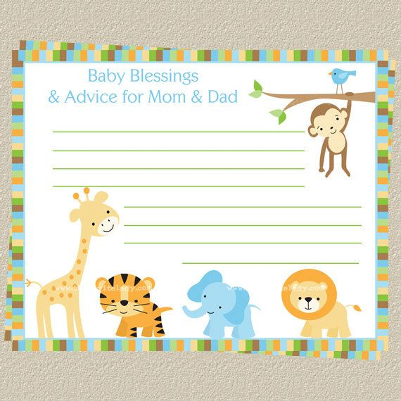 Jungle, Animals, Baby Shower, Advice for Mommy, Boys, Blue ...