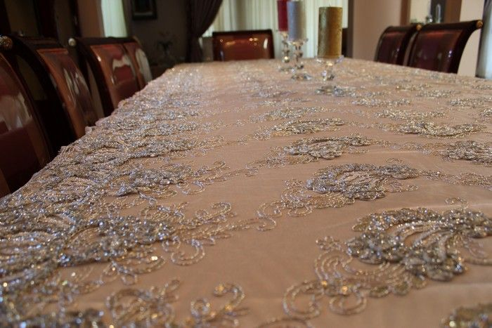 Delightful Beautiful Fancy Table Cloth Made From Our Fancy Embroidery Lace Fabric On  Mesh, The Fabric Is Available At Www.fancyfabricsonline.com | Pinterest |  Wedding ...