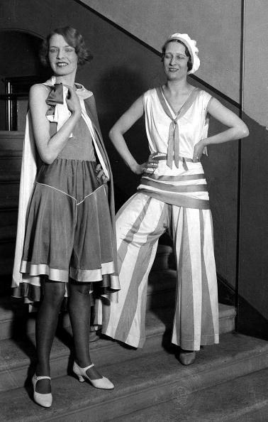Women wearing striking beach suits modelled at a British artificial silk exhibition at London's Royal Albert Hall, February 1931.  (Photo by Popperfoto/Getty Images)