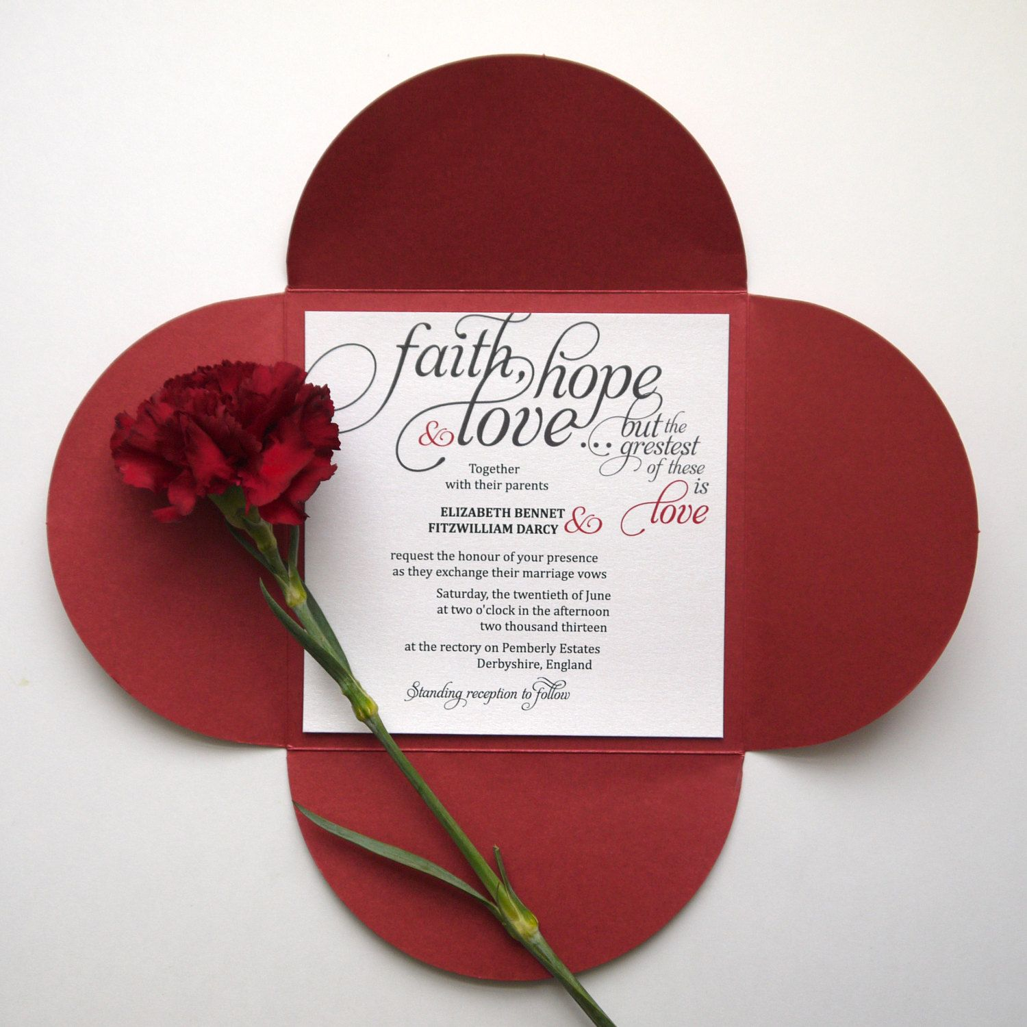 Faith | Hope | Love Calligraphy Wedding Invitation | tattoo ...