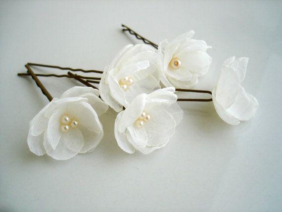 9366ab18 Flores pequeñas, marfil, boda horquillas pasadores, accesorio del ...